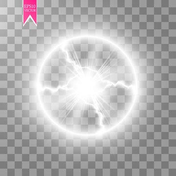 Transparent light effect of electric ball lightning. Magic plasma ball