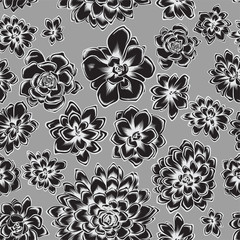 seamless pattern with succulents flowers drawings