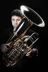 Poster Muziek Tuba brass instrument. Classical musician horn player