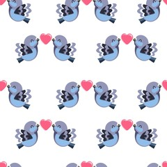 Cute Dove Vector Pattern Seamless, Birds with heart background.