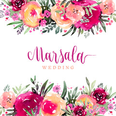 Marsala wedding watercolor floral background