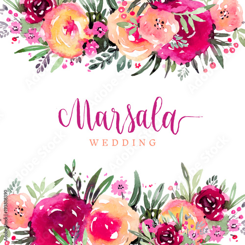 """Marsala Wedding Watercolor Floral Background"" Stock Image"