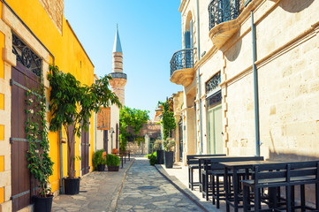 Beautiful old street in Limassol, Cyprus. Travel and vacation