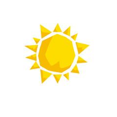 Cartoon trendy design sun icon. Summer and weather vector symbol.