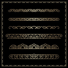 Gold borders and dividers in square frame on black
