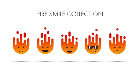 Set of fire emoticons, icon pack, emoji isolated on white background. vector illustration.Using flat colors