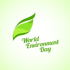 Green Leaf on Bright Background, Vector Illustration - World Environment Day Emblem with Caption