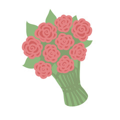 Red rose bouquet isolated