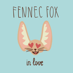 Happy fennec fox in love head
