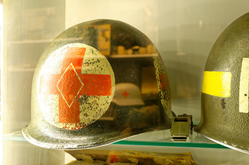 American soldier's helmet of a WWII paramedic with red cross, paramedic helmet.