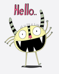 He was greeting good waving hands with a smile in the middle .Creative ideas.Cartoon animals the cute monster vector character design