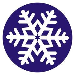 White snowflake at blue circle background. Vector illustration. Christmas decoration, symbol.