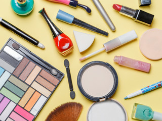 Photo on top of different cosmetics