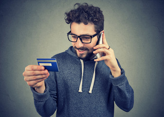 Content man using credit card service