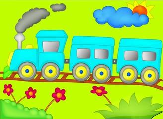 Train, cartoon,3D, illustration, toy, child, frame, isolated, cloud, rainbow, transportation, green, summer, drawing, travel, colorful, fun, locomotive, decoration, nature, kid, children, sky, vehicle