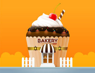 bakery cake shop store building front vector illustration