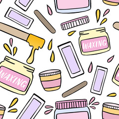 Seamless pattern with waxing and hair removal illustration.