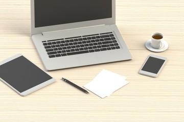 office workspace, 3d rendering