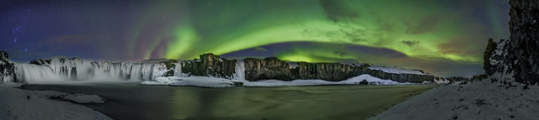 Foto op Textielframe Noorderlicht Northern Lights over Godafoss, Iceland
