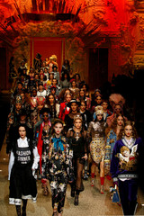 Models present creations from the Dolce & Gabbana Autumn/Winter 2018 women's collection during Milan Fashion Week in Milan
