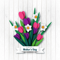 Happy Mother's day greeting card. Paper cut flowers tulips and narcissus, holiday background. Vector illustration.