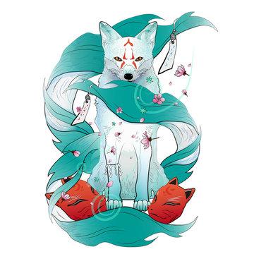 Traditional Japanese fox spirit vector illustration