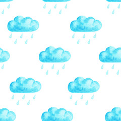 Seamless watercolor cloud pattern
