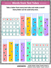 Word game (English language) for kids or adults: Make five words by taking a letter from each test tube. Answer included. Fruits and trees themed.