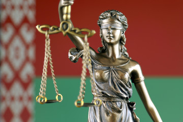 Symbol of law and justice with Belarus Flag. Close up.
