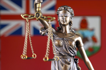 Symbol of law and justice with Bermuda Flag. Close up.
