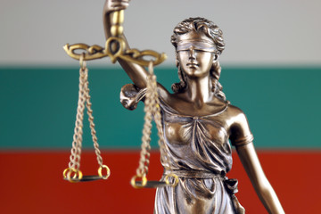 Symbol of law and justice with Bulgaria Flag. Close up.