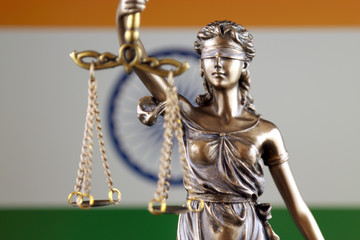 Symbol of law and justice with India Flag. Close up.