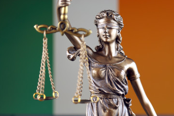 Symbol of law and justice with Ireland Flag. Close up.
