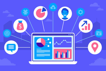 CRM concept design. Flat icons of accounting system, clients, support, deal. Organization of data on work with clients, Customer Relationship Management. Vector elements.