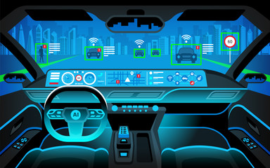 Smart car (HUD) concept. Self-Driving mode car graphic screen with flare light. Artificial intelligence on the road. Vehicle interior.