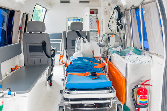 Interior of an ambulance with the necessary equipment for patient care