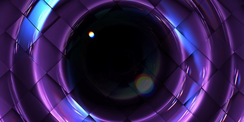 Abstract texture Background violet shiny checkerboard bump on Ripple form with dark glass ball, 3D Rendered.