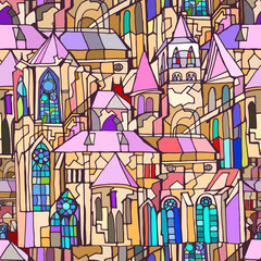 Vector seamless pattern featuring fictional Gothic city architecture elements such as towers and stained glass windows. Abstract colorful background. Hand drawn.