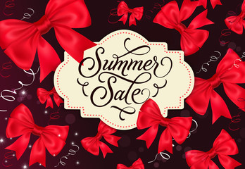 Summer Sale Label with Bows on Background
