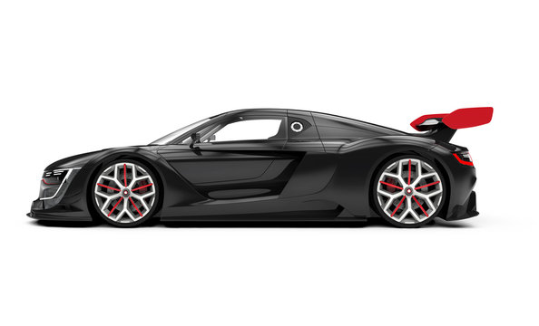Black sport car isolated on a white background