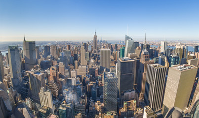 Fototapete - Panoramic view of New York City. Manhattan downtown skyline with Empire State Building and skyscrapers.