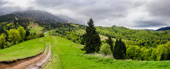 gorgeous countryside of Carpathian mountains. beautiful springtime scenery on a cloudy day. country road runs down the grassy hillside.