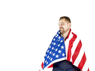 Funny mature man with a beard a man is proud of America, isolated on white