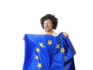 Happy shaggy brunette with european flag, isolated on white