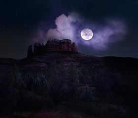 Cathedral rock in Sedona under a full moon