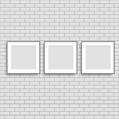 Realistic three poster frames mock up. Vector.