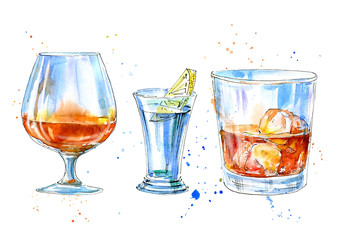 Vodka with lemon,whiskey and cognac.Picture of a alcoholic drink.Watercolor hand drawn illustration.Isolated sketch.White background.