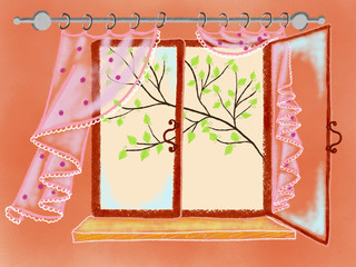 Colorful hand drawn bright kitchen window with colorful pink curtains and view of tree on orange background, illustration of spring painted by pastel, paper pencil chalk, high quality
