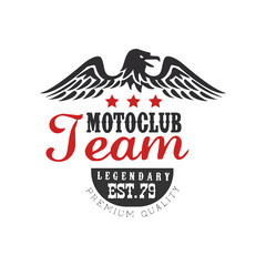 Motoclub team logo, legendary est 1979, premium quality design element for motor or biker club, motorcycle repair shop, print for clothing vector Illustration on a white background