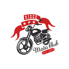 Rider moto club logo, est 1979 design element for motor or biker club, motorcycle repair shop, print for clothing vector Illustration on a white background